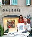 Valérie Gaidoz et l'artiste Patrick Moya devant la galerie Gabel à Biot