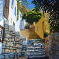 Sunlight, steps and stones - Acrylic, 16 x 16 inches (40 x 40 cm) - Sold at Mall Galleries exhibition