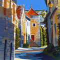 Chateauneuf en Auxois, Burgundy - Acrylic on canvas board, 19 x 19 inches.  Private client.