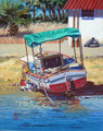 Too darn' hot! - Oil, 10 x 8 inches (25 x 20 cm). Private client in USA