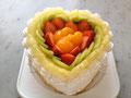 バースデーケーキ(フルーツdeluxe) 特注:ハート形