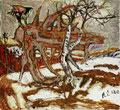 ALOIS CARIGIET, Der Falke auf dem Baumstrunk