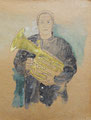 'untitled (Tuba player)', pencil, watercolor on backside of a record sleeve, 30 x 30 cm, 2006