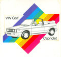 "(0287) Karmann Aufkleber ""VW Golf Cabriolet"""