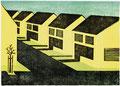 Reihenhaussiedlung, 15 x 21 cm, Linolschnitt, Auflage 10