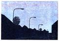 Ortsdurchfahrt, 15 x 21 cm, Linolschnitt, Auflage 7