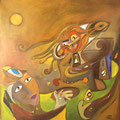 The Love Bird, 80 x 80 cm, Acryl
