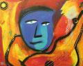 The Blues Gitarist, 100 x 80 cm, Acryl