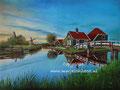 Zaanse Schans - olieverf op canvas - 60,5x45cm - juni 2017 - te koop