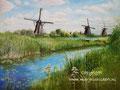 Kinderdijk - olieverf op canvas -  32x24cm - juli 2016 - te koop