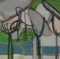 Spiegel (grün),  40x40,  Gouache und Zeichnung auf Karton