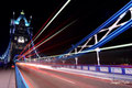 Light lines at Tower Bridge - London