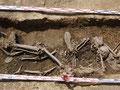 Detalle de los restos aparecidos en la Fosa 1 de la Guerra Civil de Albalate de Cinca (Huesca). Foro por la Memoria de Aragón.
