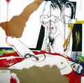 Eine Handvoll Mann, Kohle, Farbstift, Acryl, Collage auf Papier, 1998