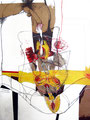 Hermes und Phrodite, Kohle, Farbsitft, Collage, Acryl auf Papier, 1998