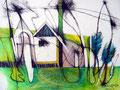 Mastnest, Farbstift auf Papier, 1997