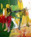 Across the red Line, Acryl auf Leinen, 2004