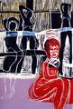 Die rote Lola - Farbholzschnitt 2003, Auflage: 15 Expl.