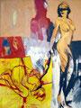 The dogs mistress, Acryl auf Leinen, 2003