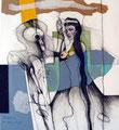 Na servas Kaiser, Farbsitft, Collage auf Papier, 1996