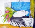Rosa Tulpen, Farbstift auf Papier, 1997