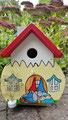Houten Nestkastje Kabouterhuisje, Details, Vogelhuisje bouwen, voorkant, eindresultaat