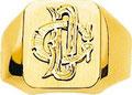 Chevalière avec deux initiales, or jaune 18 carats.
