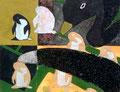 「ペンギンのためのドローイング」 和紙、岩絵具 14x18cm 個人蔵