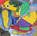 「鯰八ノ字昇天図屏風」 パネルに水干・墨 170x170cm 絵金蔵 蔵