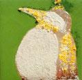 「ペンギンのためのドローイング」 岩絵具、銀箔 12x12cm 個人蔵