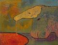 「釣りをするアリクイ」パネルに岩絵具、アクリル 22.7x15.8cm 個人蔵