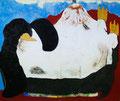 「はらもちのよいペンギン」 和紙に岩絵具、コラージュ 38x45cm