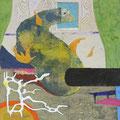 「いたちのいる部屋」 和紙に岩絵具、コラージュ 30×30cm