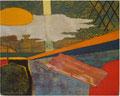 「太陽とベーコン」 和紙、岩絵具 22x16cm 個人蔵