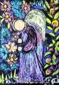 Engel im Dunkelgarten 2017 (21 x 29 cm, Ölkreide und Acryl)