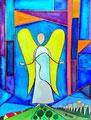 Engel in Himmelstür oder 2021 (Aquarell und Stift)