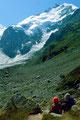 1981: Blick zum Piz Bernina mit einer Lawine unterhalb des Biancograts