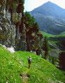 Abstieg über das breite Grasband vom Unteren Tatelishorn zur Spittelmatte