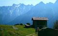 Bergeller Gipfel vom Wanderweg Maloja nach Soglio