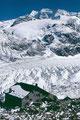 Bovalhütte, Morteratschgletscher und Piz Palü nach Neuschnee im August 1985