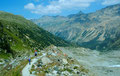 1981: Abstieg von der Bovalhütte auf der Seitenmoräne des Morteratschgletschers
