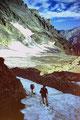 Rückblick auf den Lötschengletscher beim Aufstieg zur Passhöhe