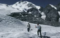 Foto von 1986: Querung des Persgletschers zur Isla Persa. Das beulenartige Spaltengebiet links im Bild ist inzwischen nahezu völlig weggeshmolzen. Zum Vorschein kam eine kleine senkrechte Felswand. Vgl. Fotos von Swissduc-Glaciers (Link unten)