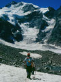 Abstieg von der Isla Persa zum Moränensee zwischen Persgletscher und Morteratschgletscher