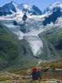 Fuorcla Surlej: Der Tschiervagletscher. Seine Gletscherzunge ist um etwa die Hälfte abgeschmolzen.