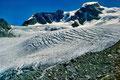 Der kleine spaltenreiche Eisfall hinter der geführten Wandergruppe ist weggeschmolzen. Es kam eine senkrechte Felssufe zum Vorschein. Siehe Fotos unter dem Link zu SwissEduc-glaciers online