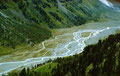 Mäandernder Gletscherbach im Val Roseg