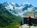 Herrlicher Blick auf das Dreigestirn der Berina von der Alp Margun