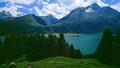 Blick über den Silsersee zum val Fedoz und La Margna