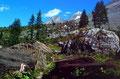 Querung des ehemaligen Bergsturzgebiets zur Doldenhornhütte. Im Hintergrund die Blümlisalp